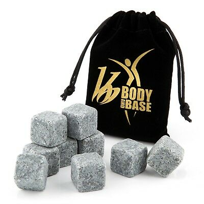 Whiskey Stone, Whisky Sipping Stones 9 ICE Cubes Granite BOXED CHRISTMAS GIFT