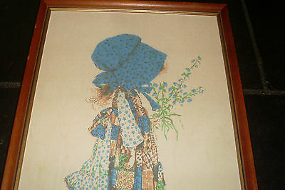 Large Vintage Retro Kitsch Holly Hobbie Picture / Wall Hanging / Framed Print