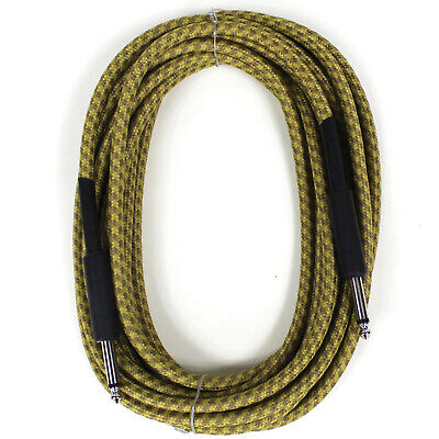 New Perfektion 20 Ft Vintage Braided Tweed Guitar, Bass & Instrument Cable Cord