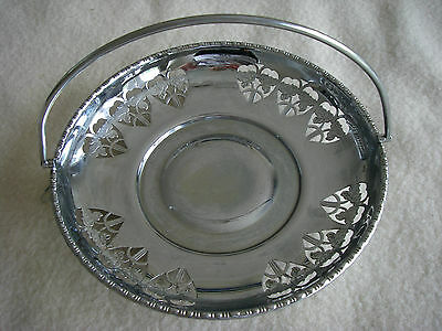 vintage/antique chrome pierced cake plate with handle
