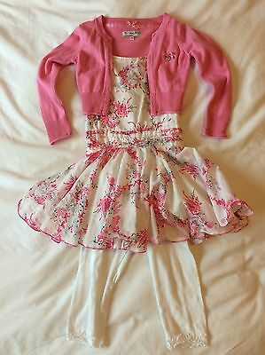 Beautiful Girl's Dress, Cardigan & Cropped Leggings Set 104cm Approx. 2-3yrs