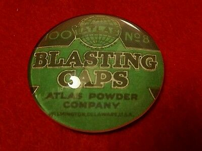Vintage Style Atlas Powder Company Blasting Caps Glass Paperweight...USA  Only