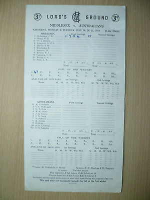 CRICKET SCORECARDS 1953-MIDDLESEX v AUSTRALIANS at Lord's Ground, July (3 day)