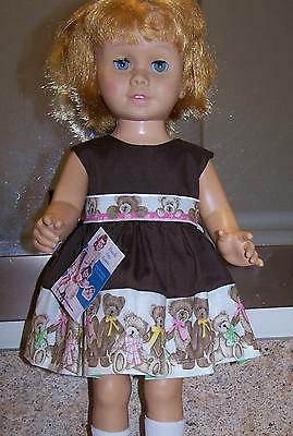 tagged Chatty Cathy size Boyd's Bears print dress with shoes, new