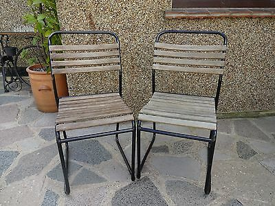 VINTAGE STACKING SCHOOL CHAIRS x 2