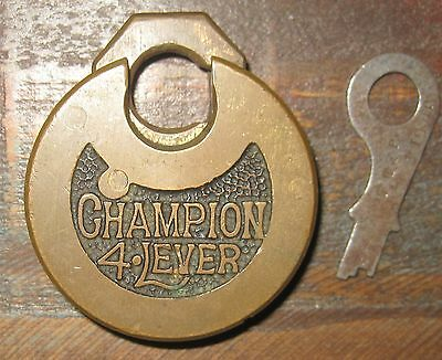 VINTAGE CHAMPION 4 LEVER CAST BRASS PANCAKE PAD LOCK with PUSH KEY EXCLNT COND