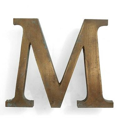 Vintage solid brass letter - M, industrial, architectural element 5.25""