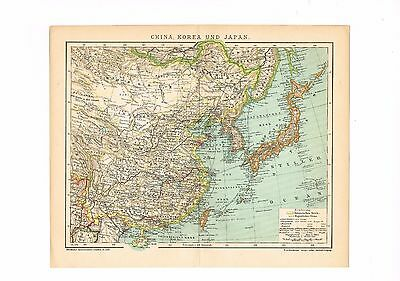 China Korea Japan July 1904 dated Original  detailed map East Asia