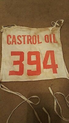 Vintage Castrol Oil Advertising  Race Car/Motorcycle  Fabric I.D. Banner,#394