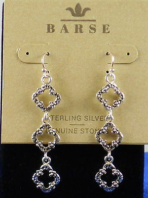 Barse Sterling Silver .925 Open Textured Circle Linear Drop Earrings SORRE09SS
