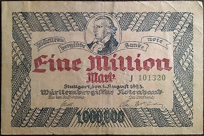 Weimar Germany banknote - 1 eine million mark - year 1923 - nootgeld - Stuttgart