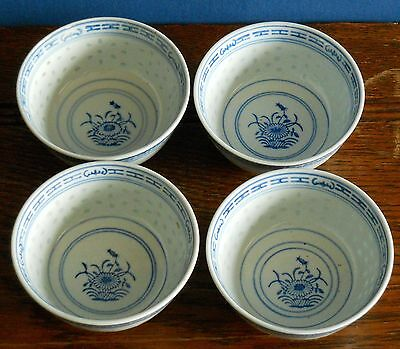 "4 x 4"" rice bowls in Chinese Rice Grain Porcelain Blue & White Chrysanthemum"