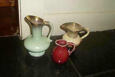 3 Vintage Retro Ceramic Jug Shaped Vases -Germany -Maroon Glaze Montague
