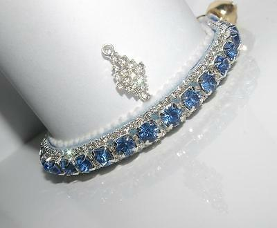 Winter Wonderland Diamond & Baby Blue Heart Crystal Cat Collar