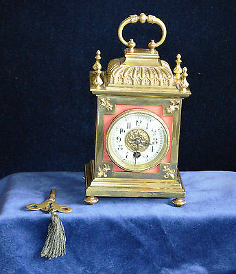 Antique Victorian Brass Carriage Clock Working Order Original Movement
