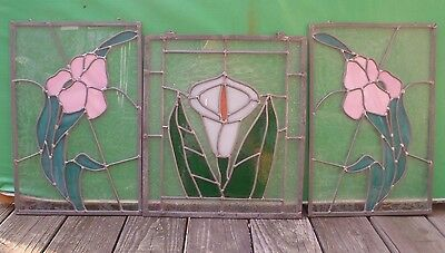 3 Leaded Stained Glass Hanging Window Panels Flowers