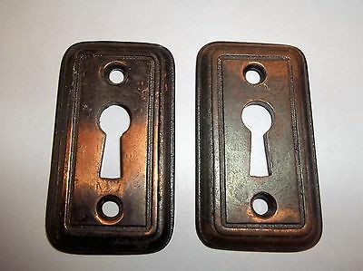 2 Antique / vintage Brass skeleton keyhole plate Escutcheon Cover Plates (Heavy)