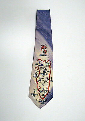 Vintage Hand Painted Tie, Map of Florida,1940s-1950