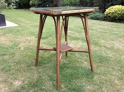 Vintage Lloyd Loom Square Occasinal Table with Glass Top.