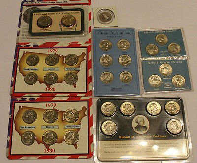 LOT of 32 Susan B. Anthony Dollars in various Little Coin Company Sets 1979-1980