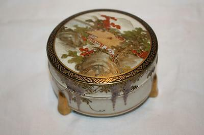 Antique Japanese Satsuma 3 Footed Trinket Pot Beautifully Hand Painted & Signed