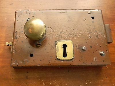vintage antique brass old door knob and locking mechanism steampunk