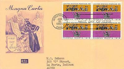 1265 5c Magna Carta, First Day Cover Cachet, block of 4 [D104135]