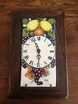 Vintage Italy Art Tile Like Pottery Hand Painted Clock Fruit Signed Leona