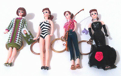 Vintage 1995 Mattel BARBIE Doll Keychains with Moveable Arms Legs Head
