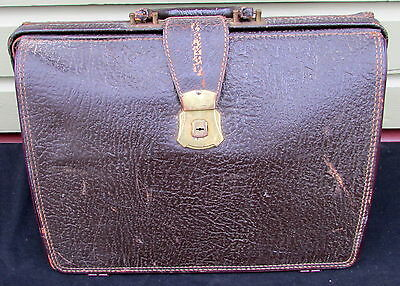 Antique Vintage Leather Doctor Style Brown  Bag Suitcase With Open Throat Top