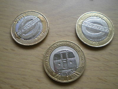 Very Rare And Unique Set Of London Underground £2 Coins X 3