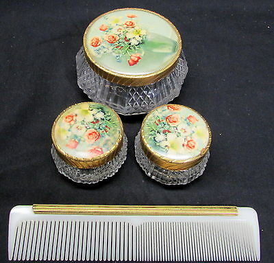 THREE 1930's ART DECO  POWDER JARS WITH ROSES FLORAL TOPS & GILDED EDGE COMB