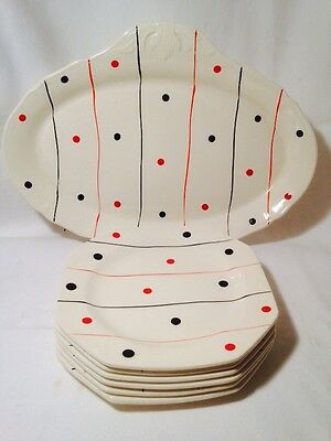 ��VINTAGE ALFRED MEAKIN 50s 60s POLKA DOTS RED & BLACK SANDWICH PLATES SET 7 Pcs
