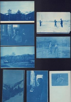 Antique Real Photo Cyanotype Postcards Lot of 8 Montana People Landscape