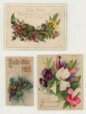 Antique Beautiful Small Christmas & New Year's Cards Flats (3)