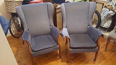 Pair of Blue Parker Knoll Wingback Armchairs. Model:   P.K.750   Mk 2