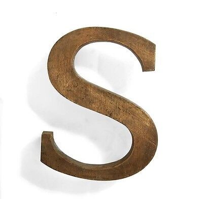 Vintage solid brass letter - S, industrial, architectural element 5.25""