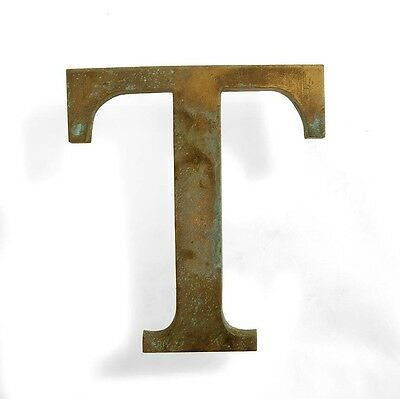 Vintage solid brass letter - T industrial, architectural element 5.25""