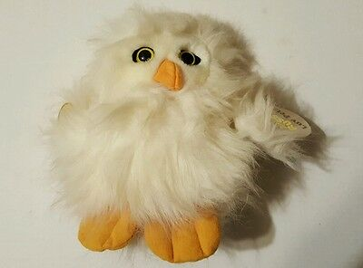 "Russ #849 ""Waldo"" Plush White Owl w/Yellow Eyes w/Tags Luv Pet 8"" Tall"