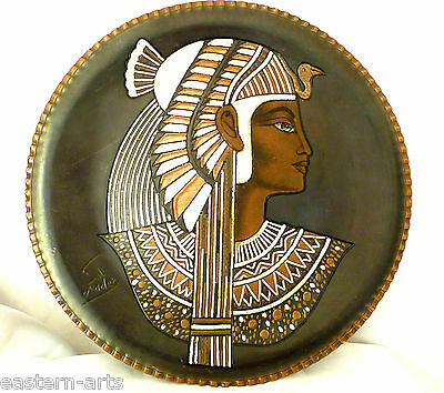 Egyptian Queen Cleopatra Silver Inlaid & Enameled Copper Wall Hanging Plate G02