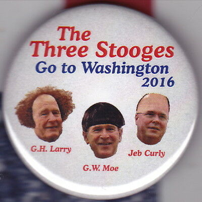 LARRY MOE curly jeb badge election 2.25 INCH stooges comedy Washington three