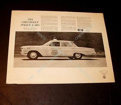1961 Chevrolet Biscayne POLICE CAR 14x18 Internal AD PROOF from Chevys AD AGENCY