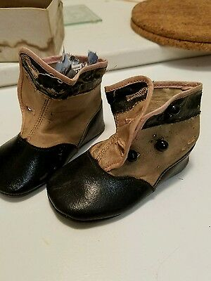 Antique Vintage Old Victorian Leather Button Up Baby Child Doll Shoes