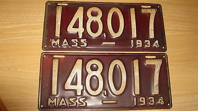 1934  Massachusetts License Plate Pair Set 34 Mass Ma 148 017 Potential Yom  Ex+
