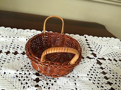 2 Craft Baskets small decorative craft basket brown woven basket new