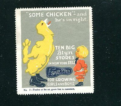 Vintage Poster Stamp Label BLYN-PLAN Childrens Shoes Some Chicken chick in shoes