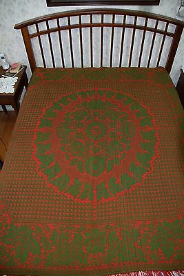 """Antique CIRCA 1860 2-Sided PA Wool Jacquard Coverlet 78""""×78"""" Winterthur Purchase"""