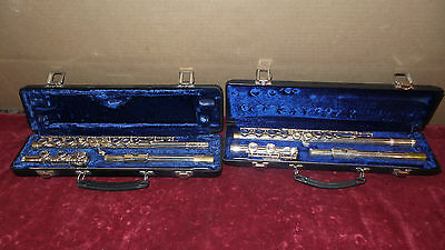 Lot of 2  Vintage Silver Finish Flutes, Armstrong & Gemeinhardt,W/Cases & Cleani
