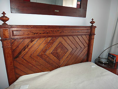 ANTIQUE BED FRENCH PINE c1890 QUEEN/DOUBLE