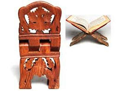 """Wooden Book Holder Stand 10"""" Pagan Wicca Witch Book of Shadows Grimoire Occult"""